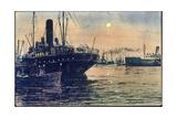 Leucht Kunstler Luna Leucht Karte, Schiffe Im Hafen