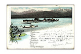 Litho Chiemsee, Dampfer Luitpold Mit Fraueninsel,Alpen