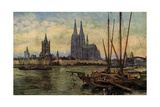 Kunstler Rudell, K., Koln Rhein, Blick Zum Dom,Boote