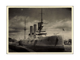 Foto Russisches Kriegsschiff Aurora Im Hafen