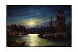 Kunstler Segelschiffe Im Hafen, Mond, Tsn Serie 820