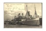 Hamburg, Dampfer E. Woermann Im Hafen Beim Verladen