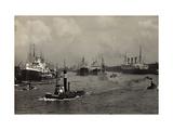 Hamburg, Blick Zum Kaiser Wilhelm Hafen, Schiffe