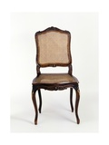 Louis XV Style Carved and Molded Natural Wood Chair with Wicker Base and Back, France