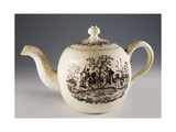 Teapot with Fox Hunting Scenes, Ca 1760, Ceramic, Staffordshire Manufacture. England.