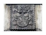 Coat of Arms on Wooden Door of Home in Lavis, Trento, Trentino-Alto Adige, Italy