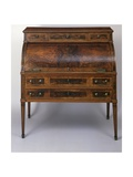 Louis XVI Style Spruce Roll-Top Writing Desk with Walnut Veneer Finish, France