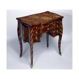 Louis XV Style Oak Dressing Table with Satinwood Veneer Finish, Triple Panel Top,