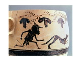 Vase Showing a Human with Animal Figures, Black-Figure Pottery, Greece
