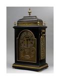 George I-Style Bracket Clock with Calendar and Planetary Symbols, Ebony Veneer
