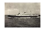 Schiff Saturnia Der Italian Line Auf Dem Meer, 1954