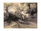 Wooded Landscape with Herdsman and Cattle, C.1775