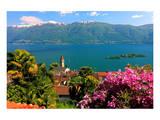 Church San Martino and Lake with Brissago Islands, Ronco Sopra Ascona on Lake Maggiore