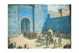 Illustration of the Ishtar Gate in Ancient Babylon