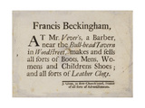 Boot and Shoemakers, Francis Beckingham, Trade Card