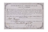 Certificate of Thanks for a Donation to the Stockwell Orphanage, London, 1874