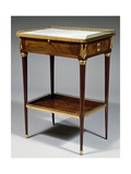 Louis XVI Style Table with Mahogany Veneer Finish and Marble Top, Stamped Charles Topino