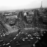 View from the Arc de Triomphe to the Place de l'Etoile, 1960s
