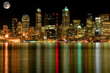 Seattle Business District at Night with Full Moon