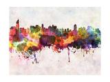 Jakarta Skyline in Watercolor Background