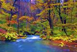 Autumn Color of Oirase River, Japan