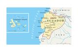 Ecuador and Galapagos Islands Political Map