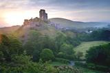 Romantic Fantasy Magical Castle Ruins against Stunning Vibrant Sunrise