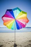Colorful Umbrella, Sunny Day and Empty Beach