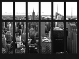 Window View - Skyline of Manhattan with the Empire State Building - Times Square - NYC