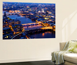 Wall Mural - View of City of London with St. Paul's Cathedral and River Thames at Night - London