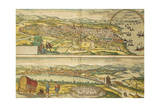 Map of Barcelona and Ecija from Civitates Orbis Terrarum