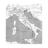 Map of Italy in 1815, from 'Europe in the Nineteenth Century: an Outline History, Published in 1916