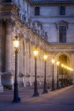 Row of Lamps in the Courtyard of Musee Du Louvre, Paris, France