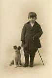 Studio Portrait, Boy with Terrier Dog