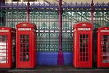 London Red Phone Boxes, Smithfield Market, London, England, United Kingdom, Europe
