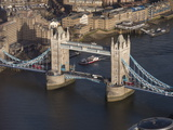 Aerial of Tower Bridge, London, England, United Kingdom, Europe