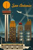 San Antonio, Texas - Retro Skyline