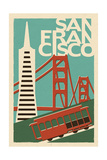 San Francisco, California - Woodblock