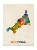 Cornwall England Watercolor Map