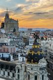 Skyline with Metropolis Building and Gran Via Street at Sunset, Madrid, Comunidad De Madrid, Spain