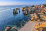 Portugal, Algarve, Lagos, Overlooking Camilo Beach (Praia Do Camilo)