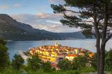 Elevated View over Picturesque Korcula Town Illuminated at Sunset, Korcula, Dalmatia, Croatia