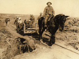 WWI: Soldiers Transporting Wounded on a Cart, at the End of the War