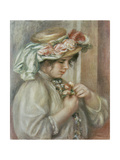 Young Girl in a Hat with Roses
