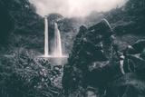 Moody Wailua Falls in Black and White, Kauai Hawaii