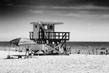 Beach Scene with a Life Guard Station - Miami Beach - Florida