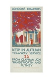 Kew in Autumn, London County Council (LC) Tramways Poster, 1925