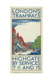 Highgate by Services 7, 11 and 15, London County Council (LC) Tramways Poster, 1924