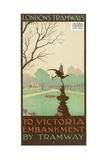 To Victoria Embankment by Tramway, London County Council (LC) Tramways Poster, 1928