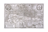 Map of the City of London and City of Westminster with Four Figures in the Foreground, C1572